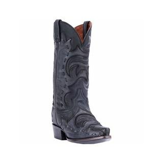 Dan Post Western Boots Mens Leather Cowboy Heel Black Gray DP2570