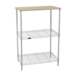 "Apollo Hardware 3-Tier White Wire Shelf with Wood on Top Tier 14""x24""x36"""