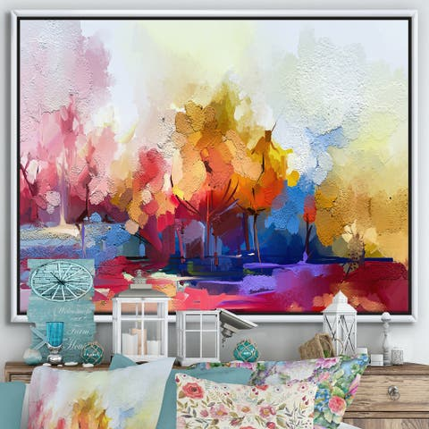 Designart 'Colorful Abstract Landscape I' Modern & Contemporary Framed Canvas Wall Art Print