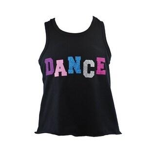 "Reflectionz Girls Black Multi Color Glitter ""Dance"" Cotton Tank Top"