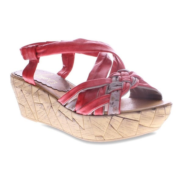 Azura NEW Red Shoes Size 9M Platforms & Wedges Leather Heels