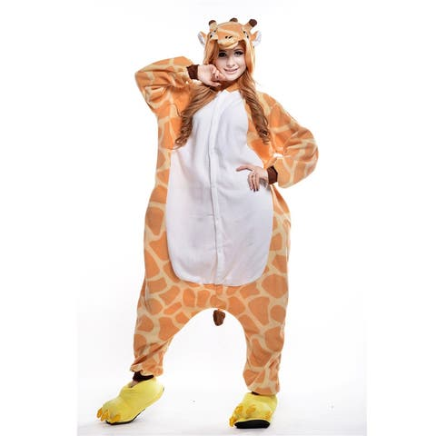 Unisex Adult Pajamas Cosplay Costume Animal one-piece Sleepwear Suit - Orange - XL