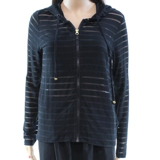 INC NEW Black Striped Sheer Women's Size Small S Hooded Knit Jacket
