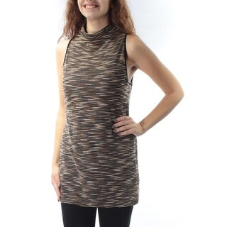 Womens Brown Sleeveless Turtle Neck Top Size XS