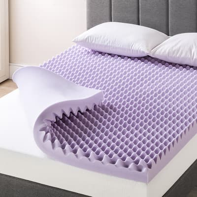 4 Inch Egg Crate Memory Foam Mattress Topper with Soothing Lavender Infusion - Crown Comfort