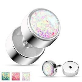 Opal Glitter 16 GA Fake Plug 316L Surgical Steel (Sold Ind.)