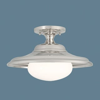 Norwell Lighting 5384 1 Light Semi-Flush Ceiling Fixture from the Jeremy Collection - polished nickel with shiny opal glass