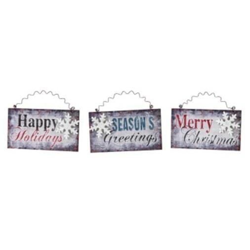 """Club Pack of 12 Vintage Snowflake Christmas Greetings Wall Hangings 6"""""""