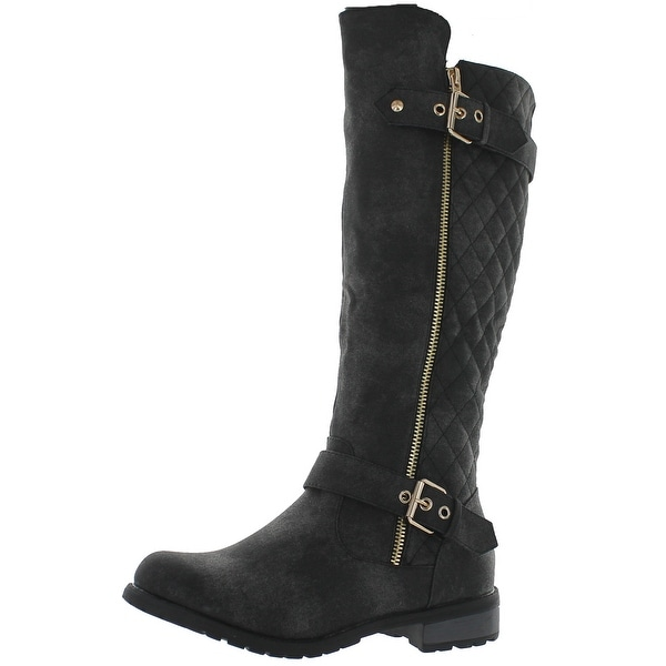 Forever Mango-21 Women's Winkle Back Shaft Side Zip Knee High Flat Riding Boots