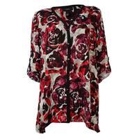Alfani Women's Rose Print Roll-Tab Buttoned Shirt - fuschia/white - s
