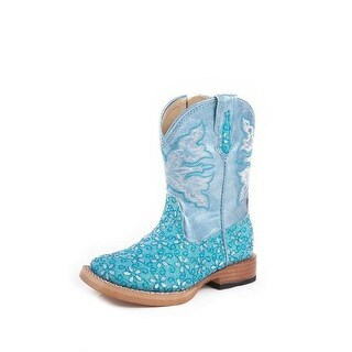Roper Western Boots Girls Infants Floral Turquoise