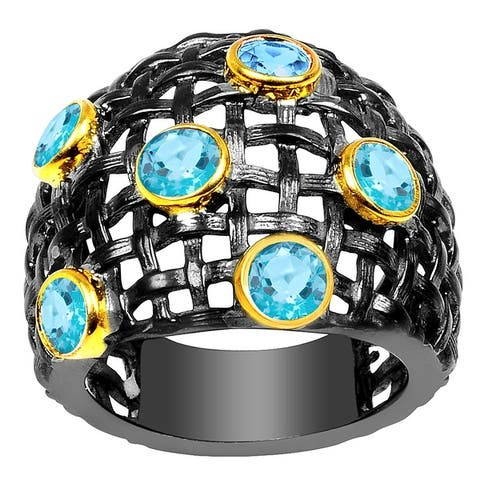 Blue Topaz Brass Round Fashion Ring By Orchid Jewelry