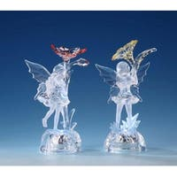 """Pack of 8 Icy Crystal Decorative Illuminated Fairy with Flower Figurines 6.5"""""""