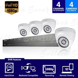 SDH-B73045 - Samsung 4 Channel 1080p HD 1TB Security System with 4 Dome Cameras