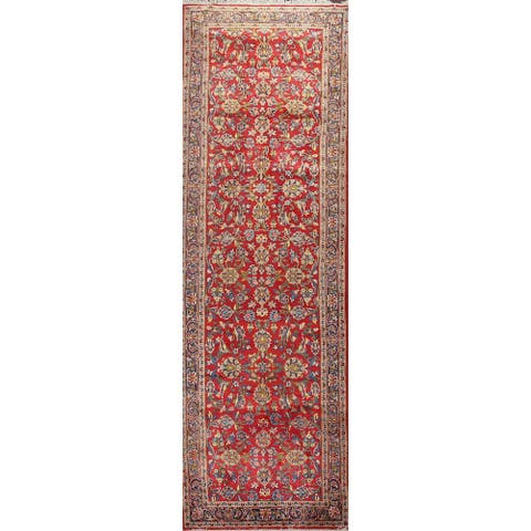 """Clearance Floral Kashan Persian Runner Rug Hand-knotted Wool Carpet - 3'5"""" x 12'6"""""""