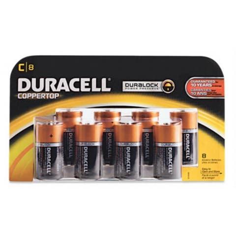 Duracell MN14R8DWZ17 Coppertop Alkaline Battery #C, 1.5 Volt, 8-Pack