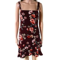 Soprano Burgundy Red Womens Size Large L Floral Ruffle Sheath Dress