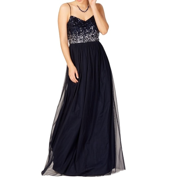Adrianna Papell Navy Blue Womens Size 12 Embellished Tulle Gown