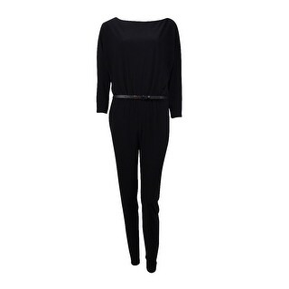 Ralph Lauren Women's Slim Ankle Belted Jersey Jumpsuit - Black