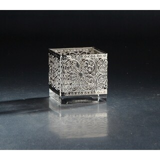 """4"""" Clear and Silver Colored Square Tabletop Glass Vase - N/A"""