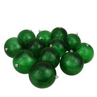 "12ct Green Transparent Shatterproof Christmas Ball Ornaments 4"" (100mm)"