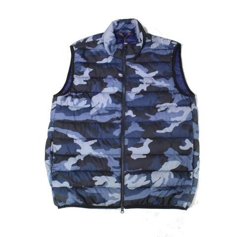 Barbour Mens Jackets Blue Size Medium M Camo Full-Zip Puffer Gilet Vest
