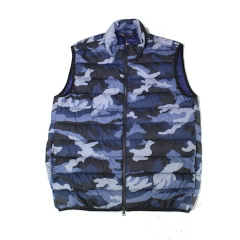 Barbour Mens Jackets Blue Size Small S Camo Full-Zip Puffer Gilet Vest