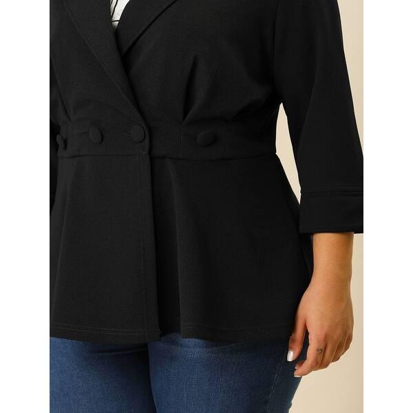 Agnes Orinda Womens Plus Size Ruffle V Neck Button Ruched Casual Peplum Blazer