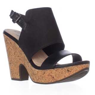 Naya Misty Slingback Wedge Sandals, Black