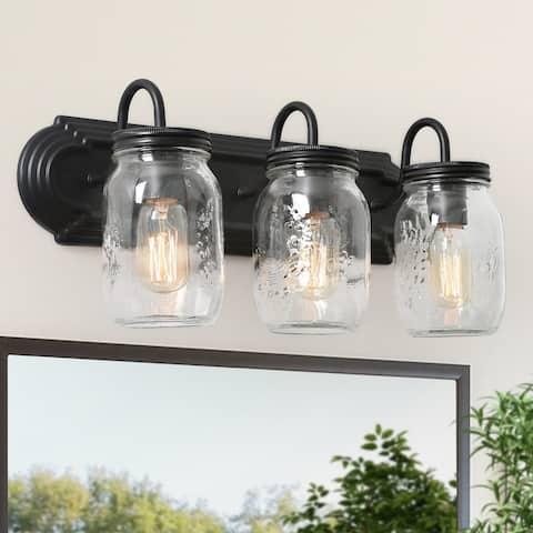 "Farmhouse Bathroom 3-Light Black Vanity Light Fixture with Mason Jar - 19""L x 8.5""H"