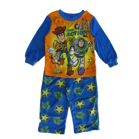 Disney Little Boys Blue Orange Toy Story 4 Long Sleeve Pajama 2pc Set