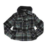 Rue 21 Womens Double Button Up Plaid Coat Black - black/grey/turquoise