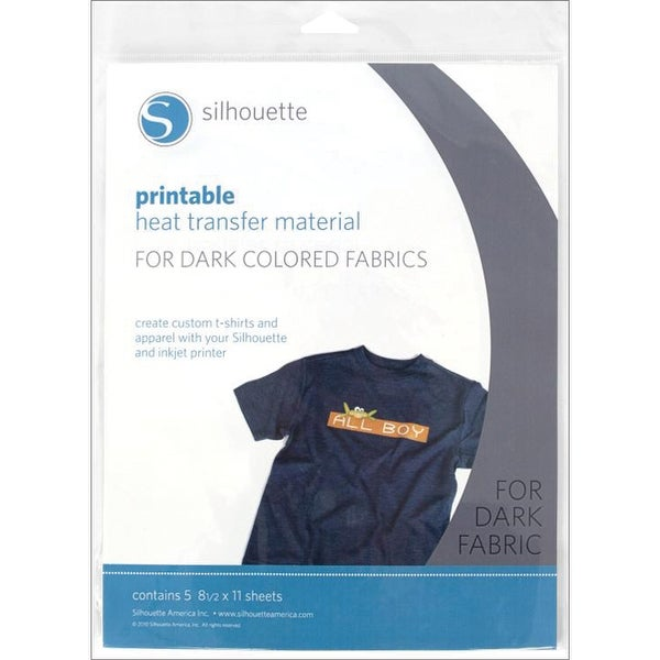 "Silhouette Printable Heat Transfer Material 8.5""X11"" 5/Pkg-For Dark Fabrics"