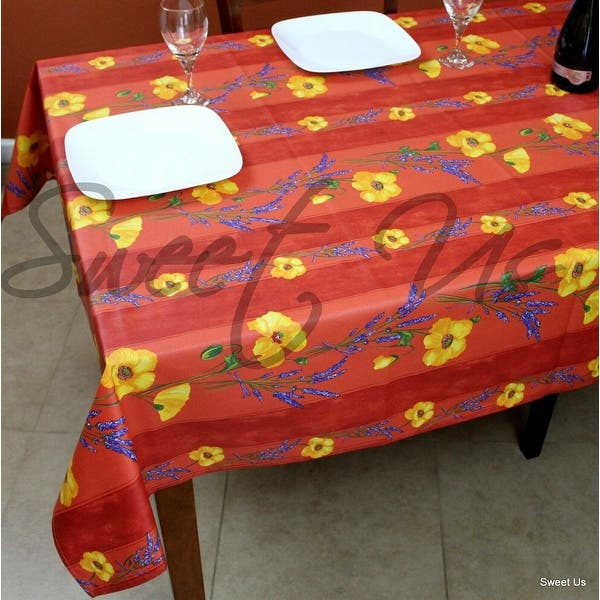 Wipeable Tablecloth Round Spillproof French Acrylic Coated Poppy Salmon Peach