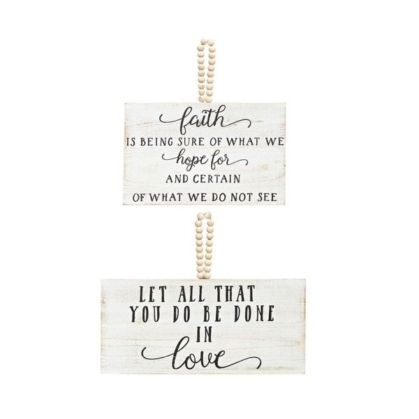 "Set of 2 White Love and Faith Wall Decorations with Wooden Rope 12.5"" - N/A"