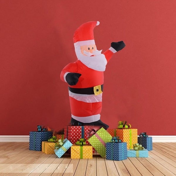 Costway 4Ft Airblown Inflatable Christmas Santa Claus Lighted Decor Lawn Yard Outdoor - Red