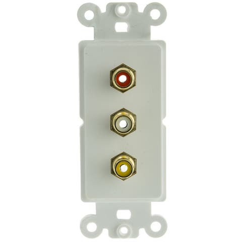 Offex Decora Wall Plate Insert, White, 3 RCA Couplers (Red/White/Yellow), RCA Female