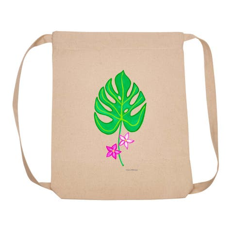 """18"""" Brown Backpack With Adjustable Strap with One Leaf and Two Flowers Design"""