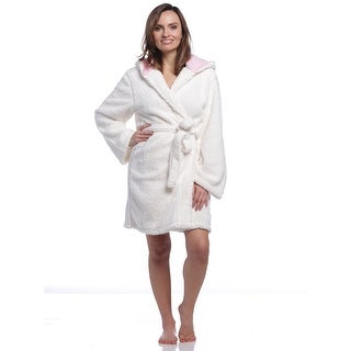 PJ Couture Women's Scrumptious Sherpa Robe With Hood - Ivory