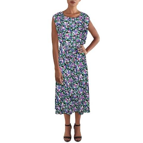 Lauren Ralph Lauren Womens Vilodie Casual Dress Floral A-Line - Black