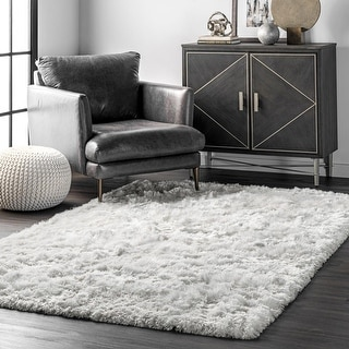 Link to Silver Orchid Stewart Handmade Soft and Plush Silken Shag Rug Similar Items in Shag Rugs