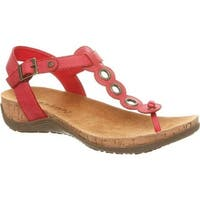 Bearpaw Women's Jean Thong Sandal Red Faux Leather