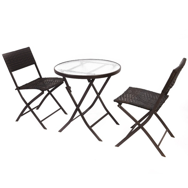 Shop Costway Patio Furniture Folding 3pc Table Chair Set