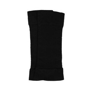 Women Zig Zag Design Stretchy Compression Arm Sleeves Black