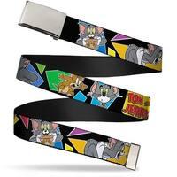 Blank Chrome Buckle Tom & Jerry Poses Black Multi Color Webbing Web Belt