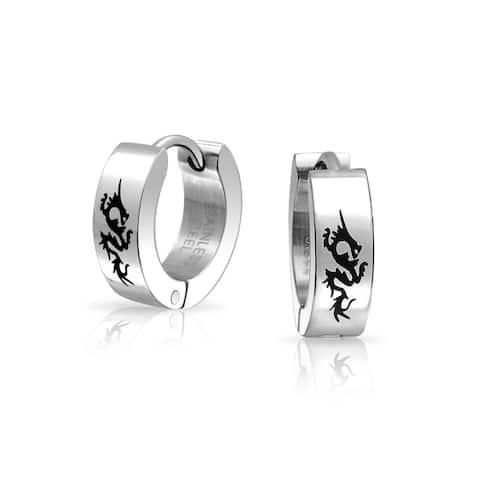 Dragon Hoop Hoop Earrings Laser Silver Tone Stainless Steel