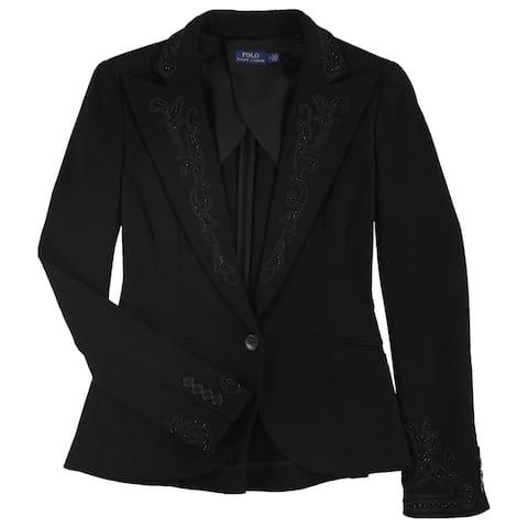 Ralph Lauren Womens Beaded One Button Blazer Jacket, Black, 2