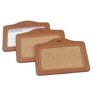 Unique Bargains Unique Bargains 3pcs Brown Clear Faux Leather Plastic Business Work Card Holder Case