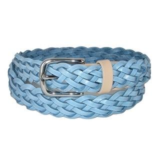 The British Belt Company Women's Prunella Leather Hand Woven Braided Belt