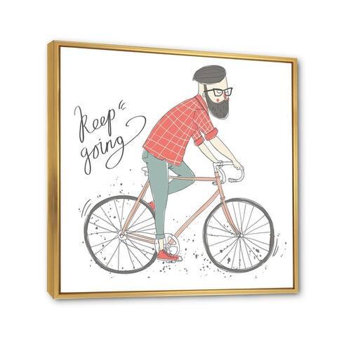 Designart 'Hipster Man on A Bicycle' Children's Art Framed Canvas Wall Art Print